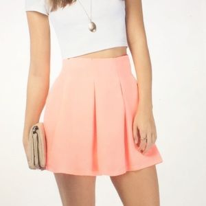 NWT Tobi Neon Orange Pleated Mini Skater Skirt